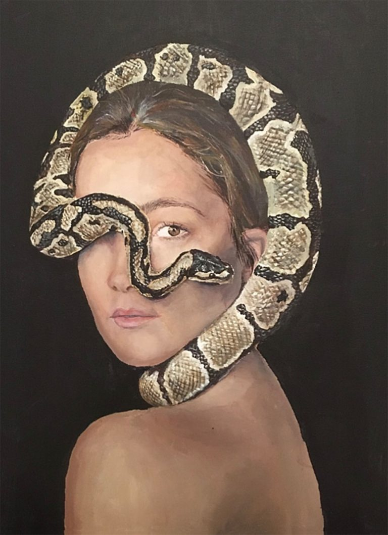 Art and wellness. Lady with snake painting.