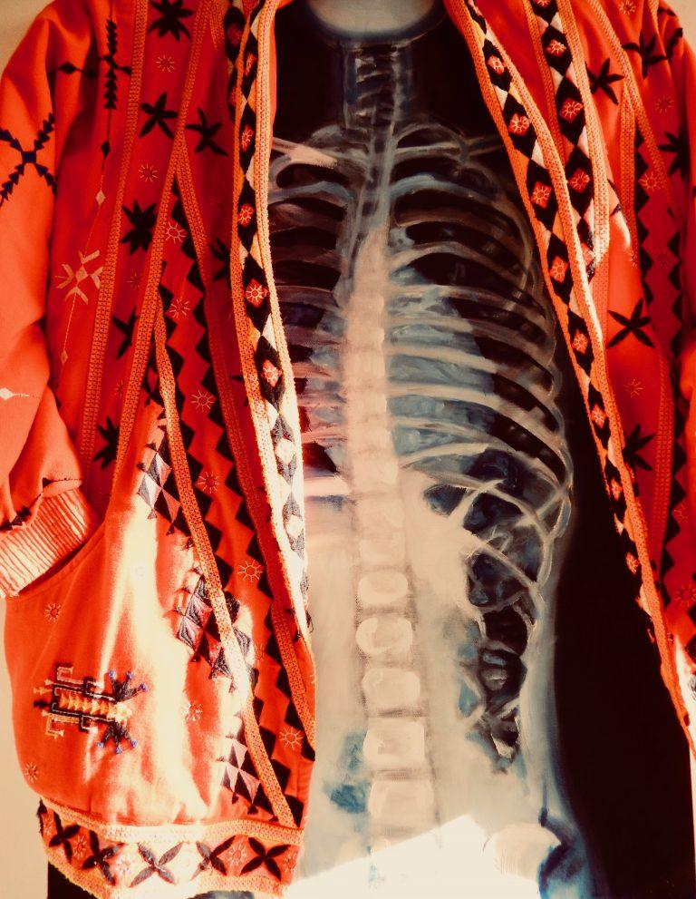 Wendy Rolt, Artist - Longer Healthier Life. Skeletal scan wearing jacket.