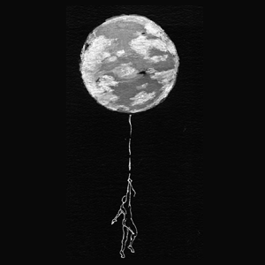 Black and white image of man dangling from the moon.