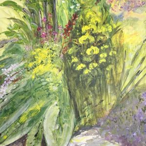 Art and wellbeing. Watercolour of yellow flowers.
