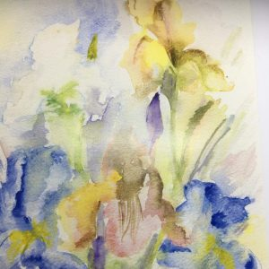 Art and wellbeing. Watercolour of irises.