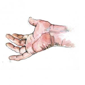 Art and wellbeing. Drawing of a hand.