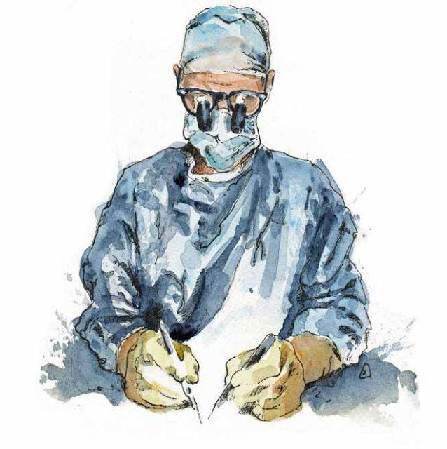 Donald Sammut, Hand Surgeon - Longer Healthier Lives. Drawing of surgeon at work. Onewellbeck. Circle Bath.