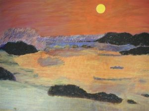 Art and wellbeing. Abstract painting. Gokarna Sunset