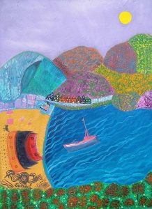 Art and wellbeing. Abstract painting. Balamory