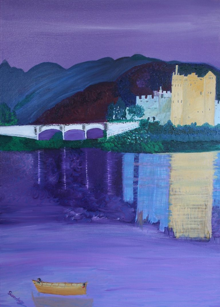 Art and wellbeing. Abstract painting. Enchanted castle