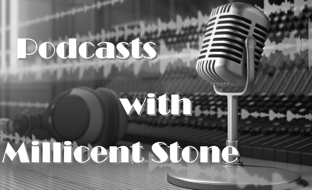 Earphones and mike, podcasts with millicent stone