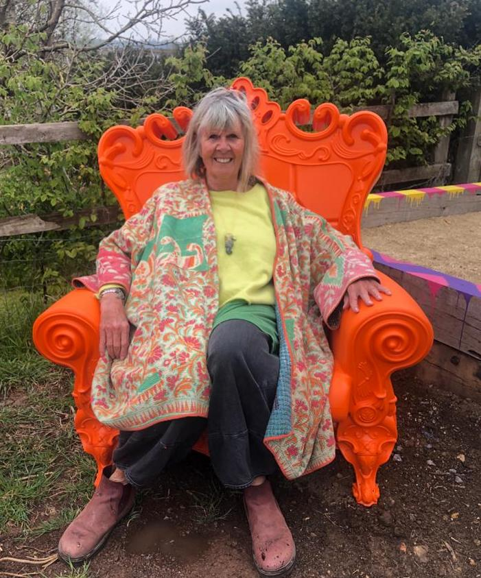 Penny in orange chair, , Penny Horne, Landscape Artist - a restorative experience