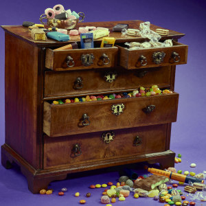 Chest of drawers overflowing with sweets. Sarah Muirhead-Allwood, Orthopaedic Surgeon and Photographer - Insight into her art of living