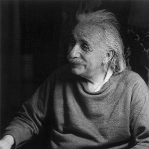 Albert Einstein smiling. photo by Marilyn Stafford