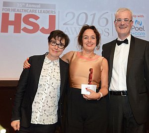 HSJ awards with Sue Perkins. Dame Marianne Griffiths; the CEO of Brighton and Sussex University Hospitals NHS Trust.