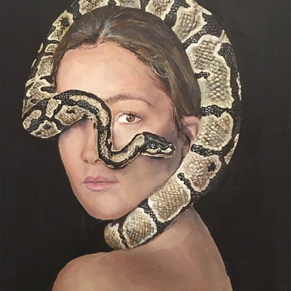 Art and wellbeing. Lady with snake painting.