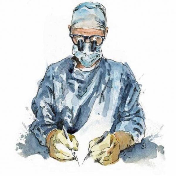 Art and wellbeing. Drawing of surgeon at work. Onewellbeck. Circle Bath.
